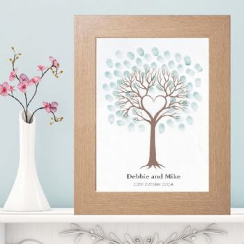 Heart Fingerprint Tree - Unique Wedding, Christening, Baptism or Birthday Keepsake - Alternative To A Guest Book